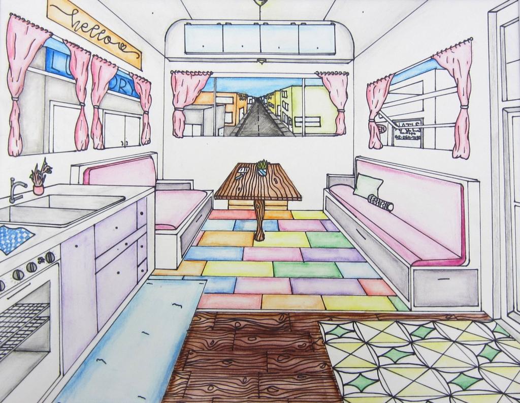 """Happy Camper"" Angella Nguyen Watercolor 7th, FAMS $35"