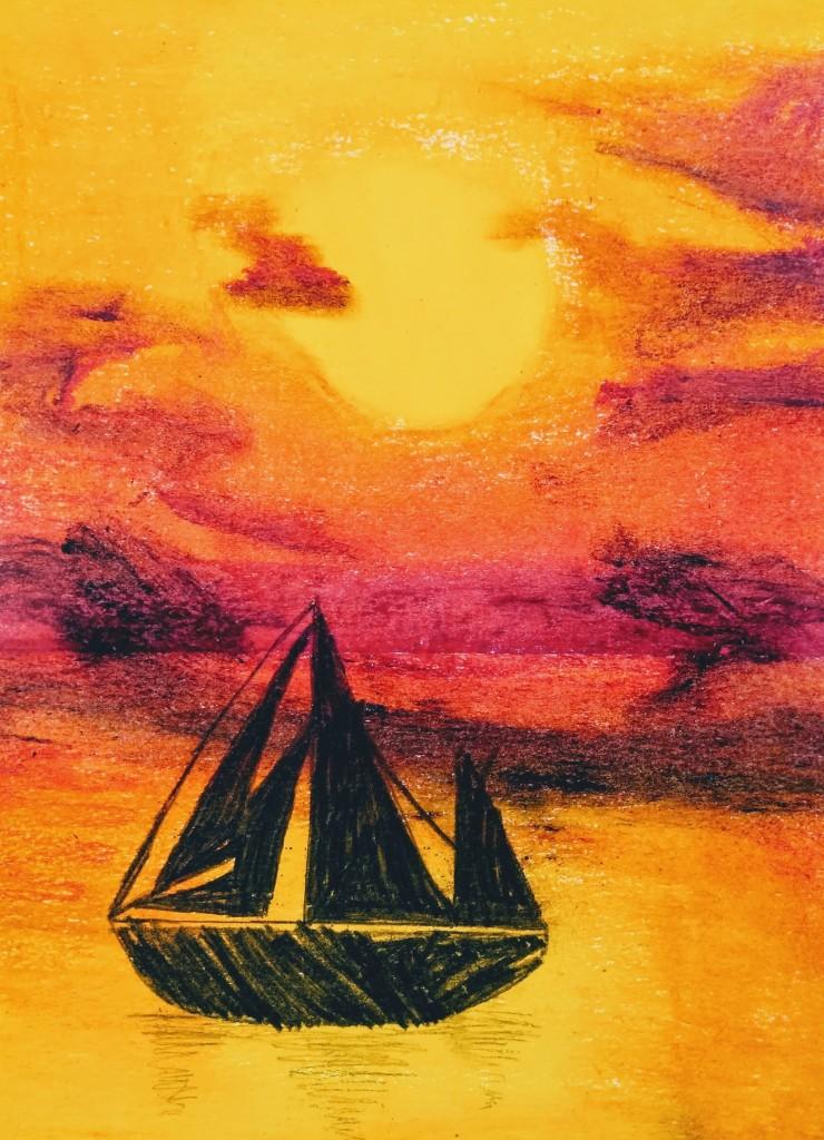 """""""Sunset Sailboat"""" Elijah Barr Oil pastel 3rd Barrie NFS"""