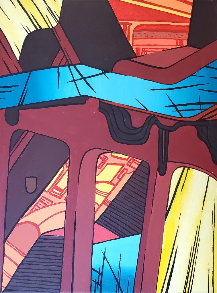 """Stairmageddon"" Alison Gosda Acrylic on Canvas 8th, FAMS $70"