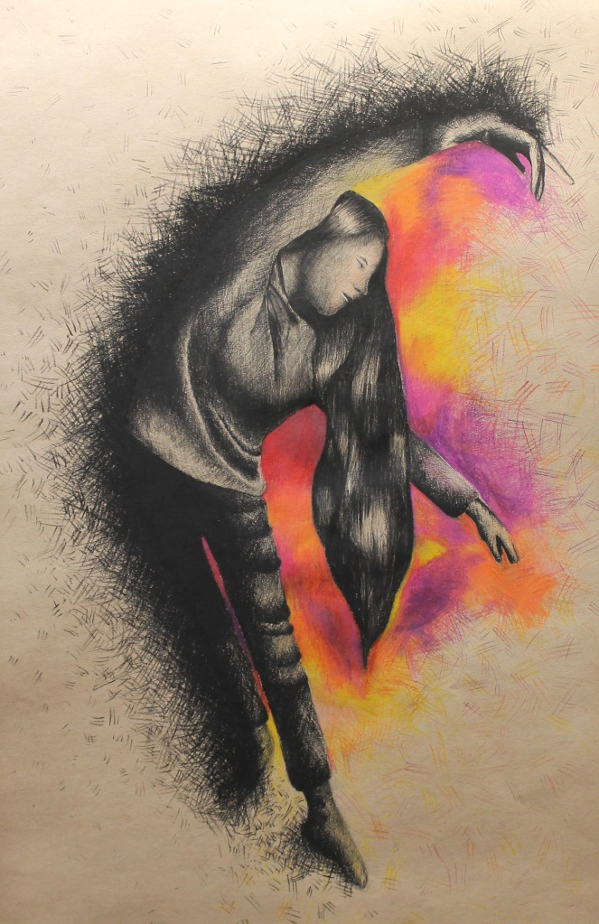 """Supernova"" Marta Huss-Lederman Charcoal and Colored Pencil 12th, FAHS NFS"