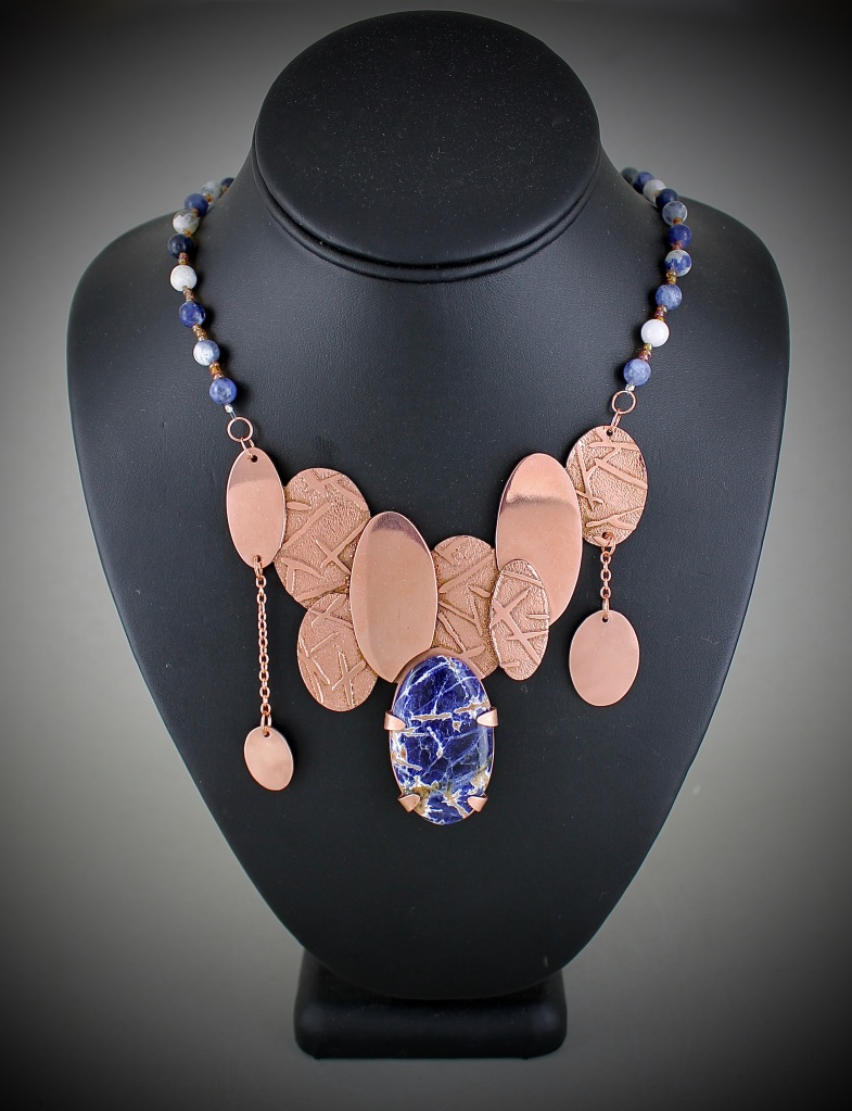 """Elliptic"" Elee Sharp Etched Copper, Sunset Sodalite Cabochon, Sodalite Beads, and Glass Beads 10th, FAHS NFS"