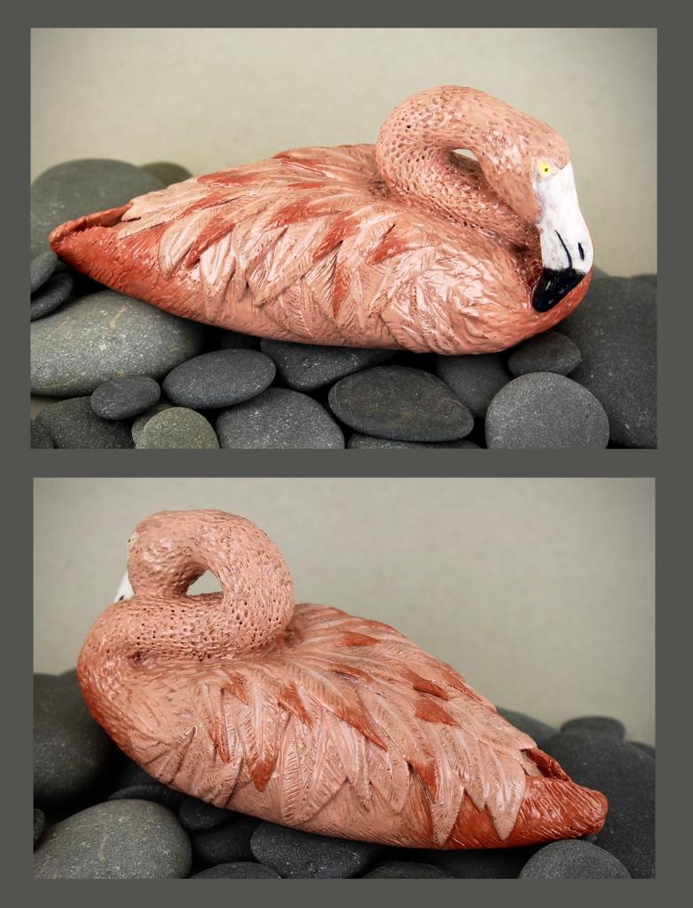 """""""Resting Flamingo"""" Jessica Sharp Ceramic 10th, FAHS NFS"""