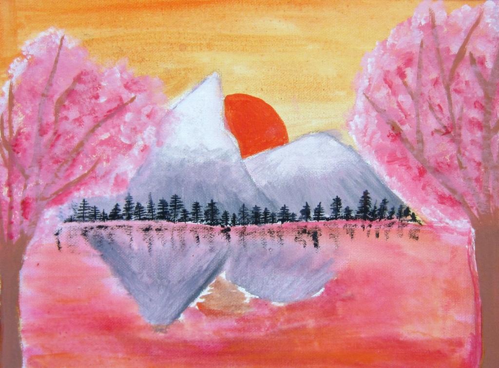 """""""Cherry Blossom Sunset"""" Kaylianna Niebuhr Acrylic 7th, FAMS NFS"""
