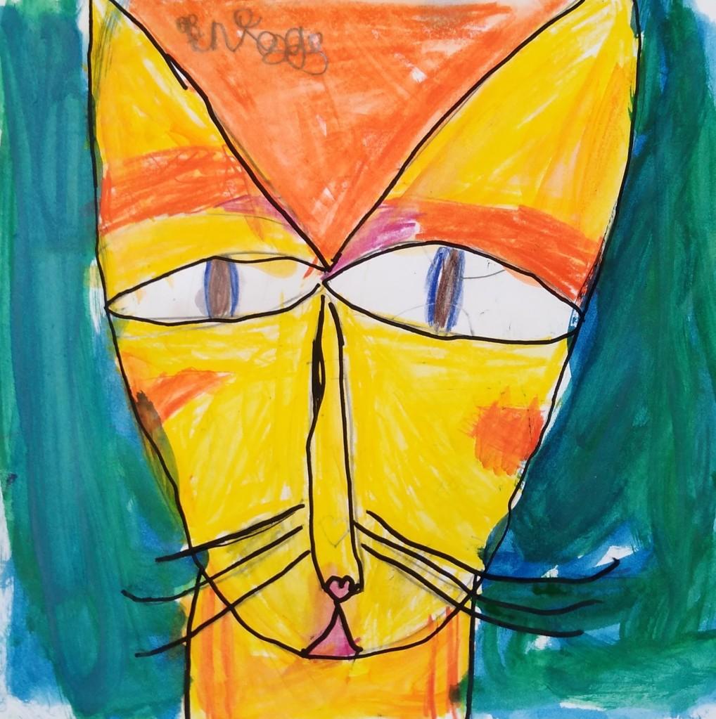 """""""Mischievous Cat"""" Briggs Luedtke Watercolor & Sharpie 1st Barrie NFS"""