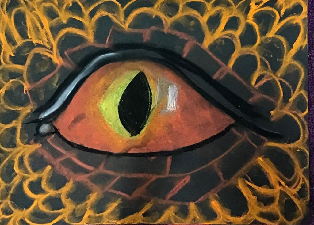 """Red Eye"", Nevaeh Mayer, chalk pastels, 3rd, Rockwell, NFS"