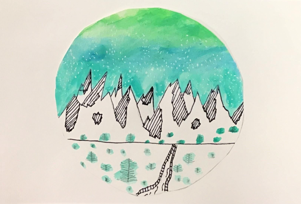 """Winter Mountains"", Owen Eske, Ink and Watercolor, 5th, Rockwell, NFS"
