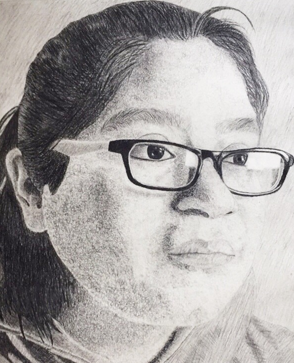 """Self-Portrait"" Elizabeth Garcia Charcoal on Paper 9th, FAHS $80"
