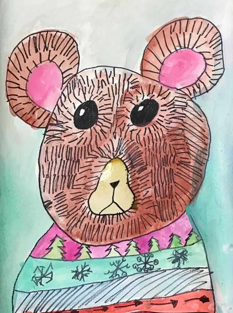 """Bear in a Sweater"", Sophia Bowie, Ink and Watercolor, 2nd, Rockwell, NFS"
