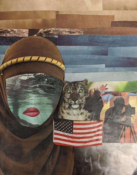 """""""A Pair of Eyes,"""" Brenda Zuniga Collage on Board, 9th, FAHS, NFS."""