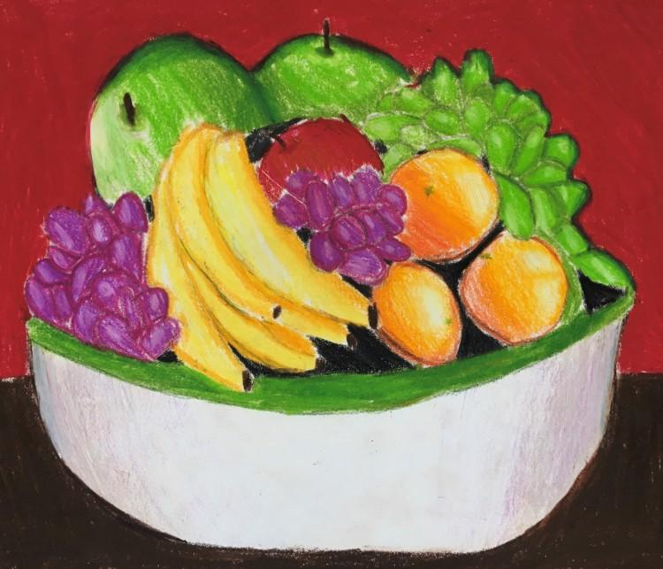 """""""Fruit Bowl,"""" Zoe Szabo Prismacolor Pencils 4th, Luther $40"""