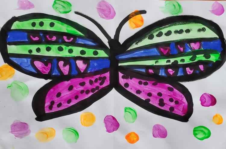 """Colorful"", Olivia Kucken, Ink & Tempera, Kindergarten, Rockwell, NFS"