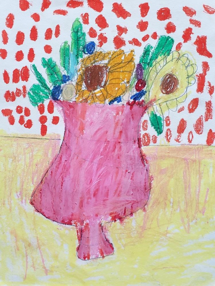 """The Happy World"", Ella Hansen, Oil Pastels, Kindergarten, Rockwell, $15"