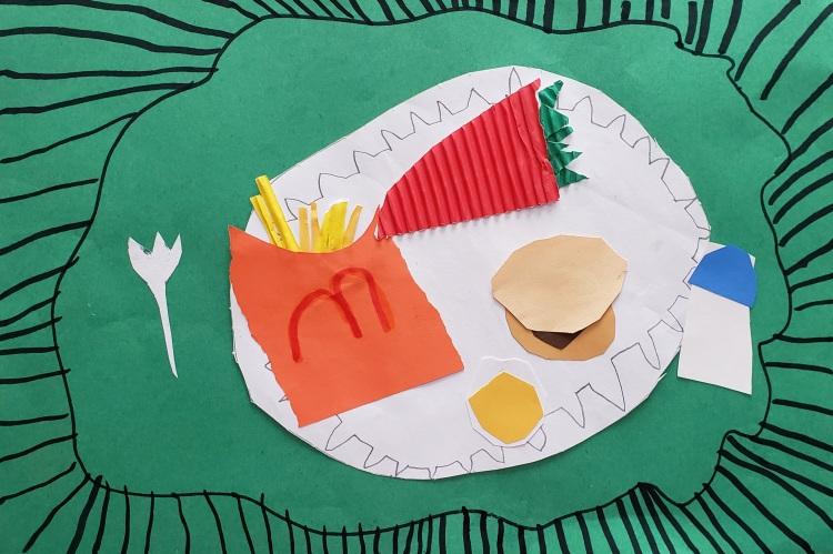 """Paper Meal"", Elijah Mayer, Collage, Kindergarten, Rockwell, NFS"