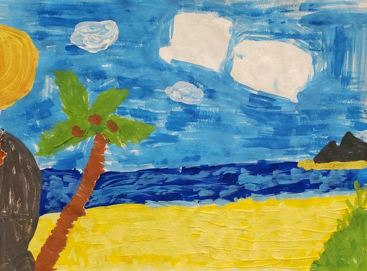 """The Beach"", Wyatt Buchli, Tempera, 5 Rockwell, $30"