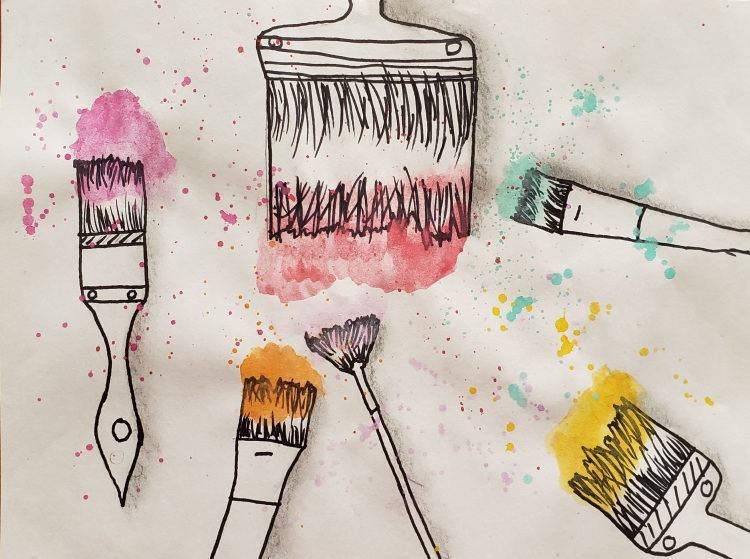 """Colorful Splatter"", Grace Michalak, Mixed Media, 5 Rockwell, $30"
