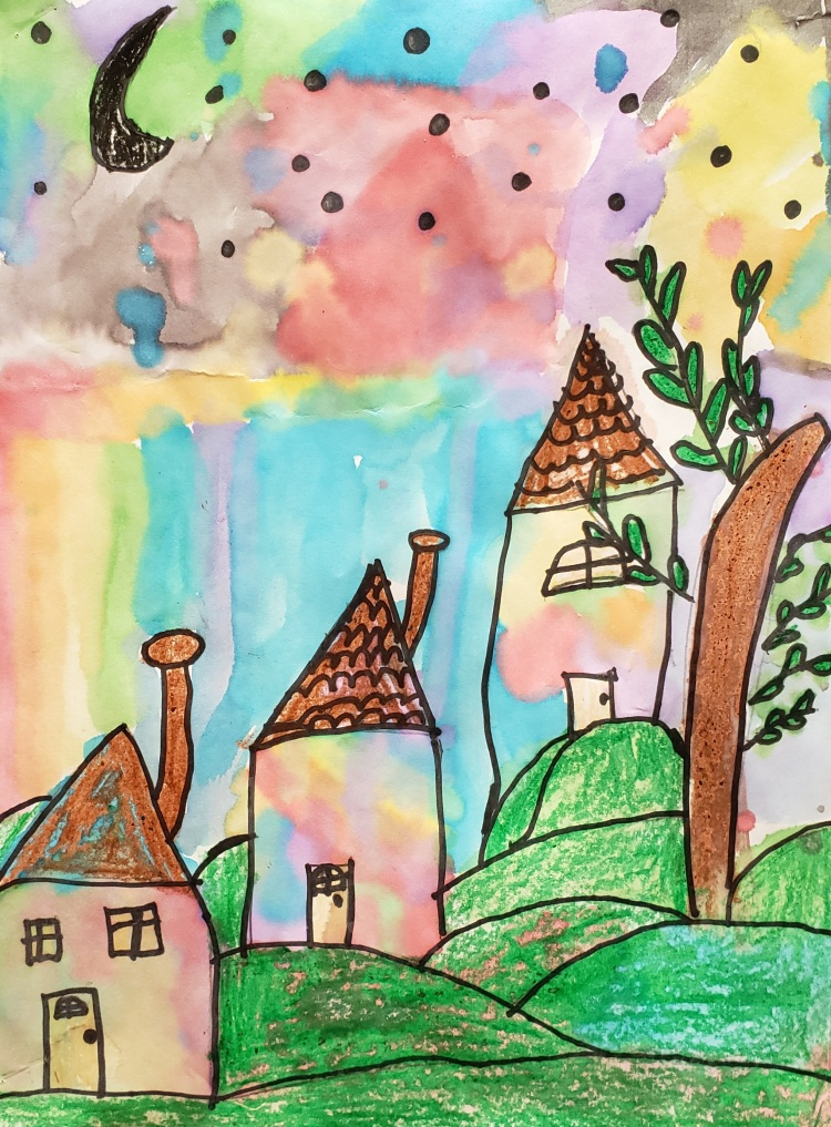 """""""Nighttime at the Village"""", Isabella Ehlers, Mixed Media, 2 Rockwell, $20"""