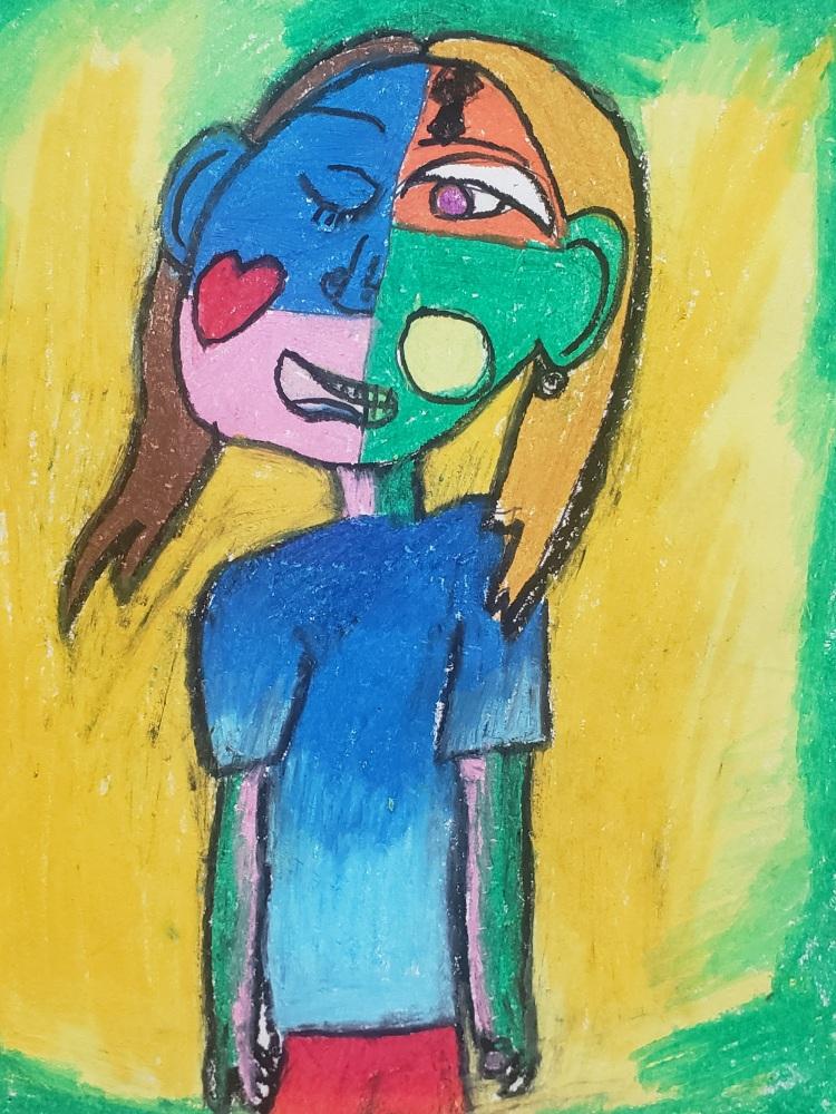 """Multiple Emotions"", Sophia Bowie, Oil Pastel, 3 Rockwell, $20"