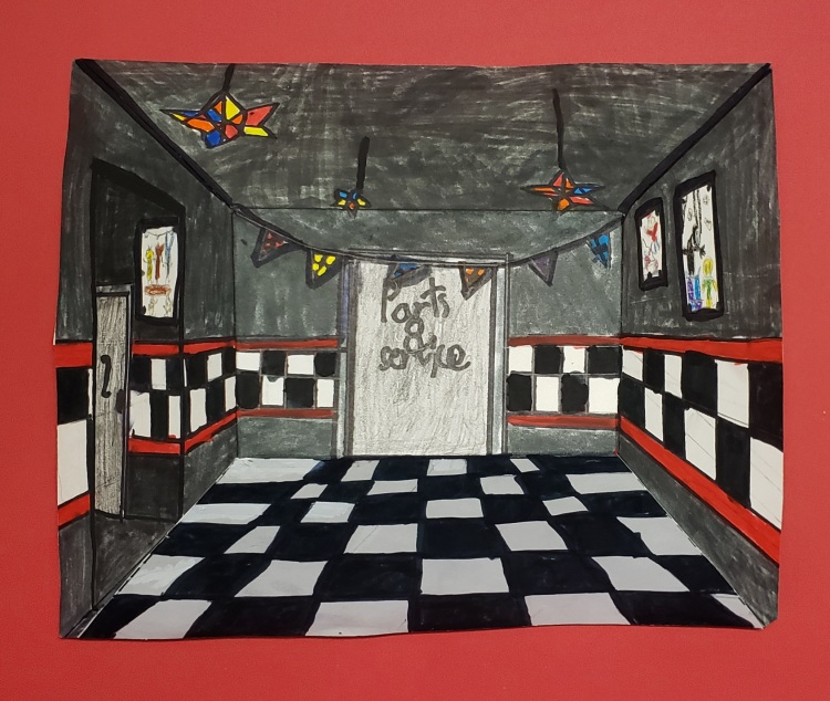 """""""Parts and Service"""" Spencer Munn Markers and colored pencil 4 Rockwell NFS"""