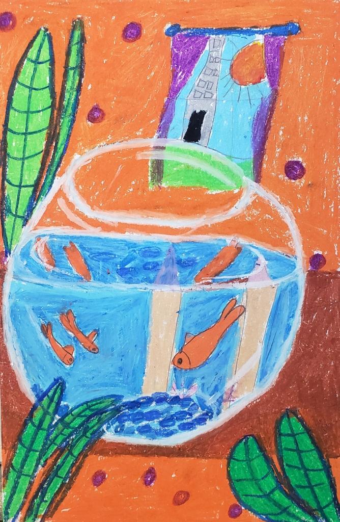 """Matisse Fishbowl"" Lilliana Falci Oil Pastels 2 Rockwell $20"