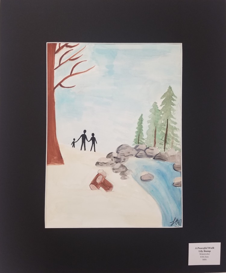 A Perfect Walk, Lily Bump, Watercolor, 8, St Joes, NFS