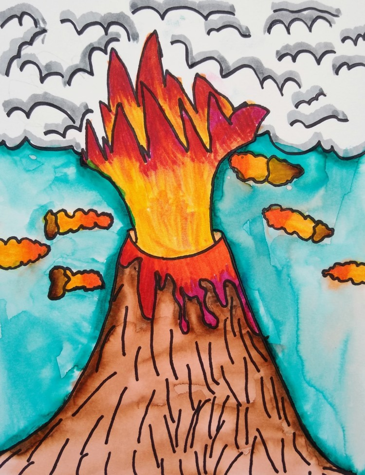 """""""Volcanic Smoke,"""" Adalina Lively, Watercolor & Sharpie, 1 Barrie, NFS"""