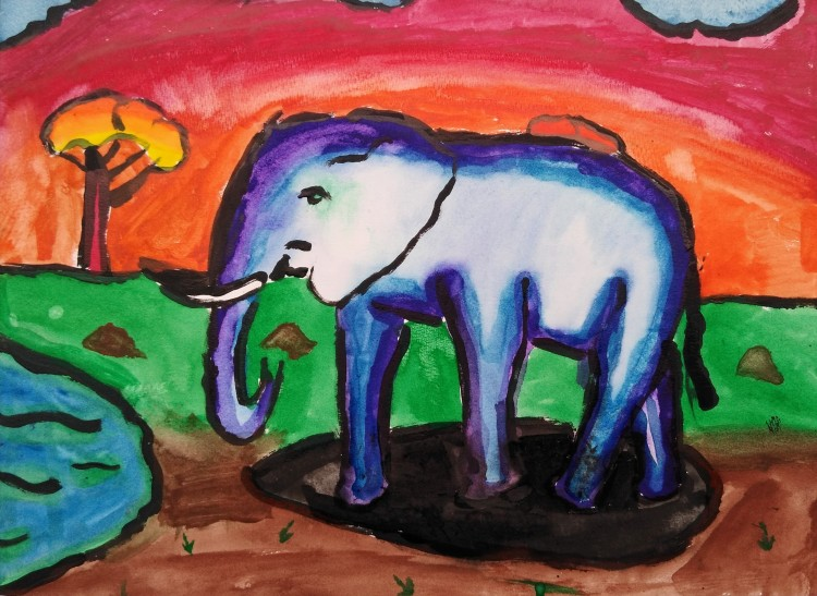"""""""A Morning Drink on the Savannah,"""" Cameron Holloway, Glue-resist watercolor, 3 Barrie, NFS"""