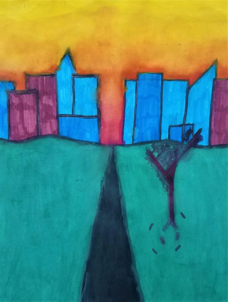 """City Skyline"", Hannah Hesselbacher, Tempera, 4 Luther, $20"