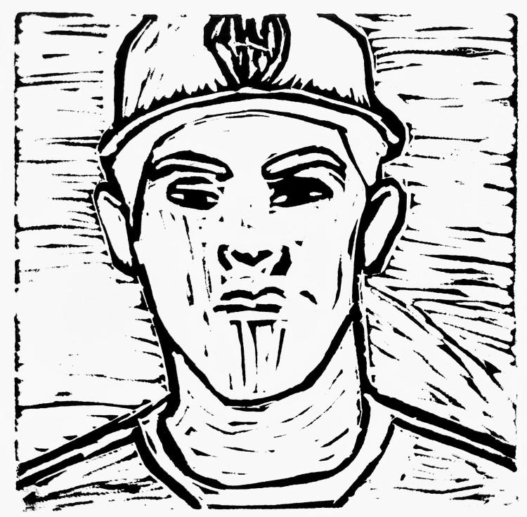 """MVP,"" Colton Barnes, Linoleum relief print, 5 Barrie, NFS"