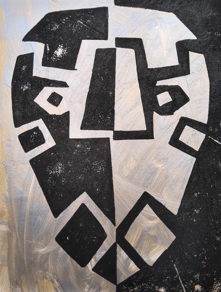 """Metallic Blast,"" Elijah Barr, Foam relief print, 4 Barrie, NFS"