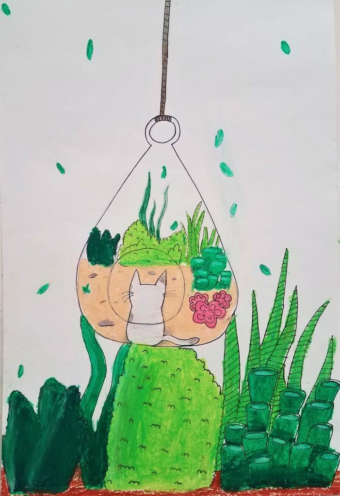 """""""Green Cat"""", Lerissa Reu, Mixed Media, 4 Luther, NFS"""
