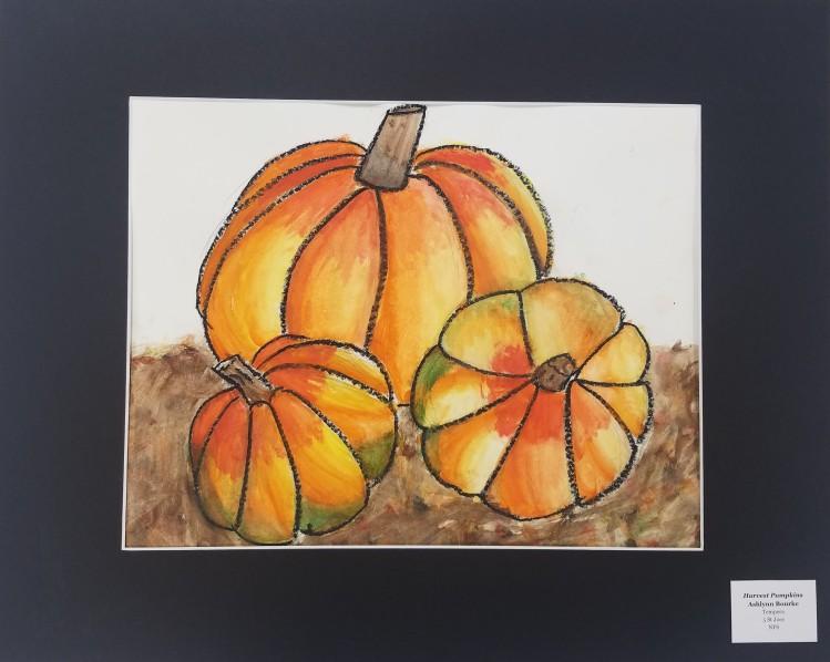 Harvest Pumpkins, Ashlynn Bourke, Tempera, 5, St Joes, NFS