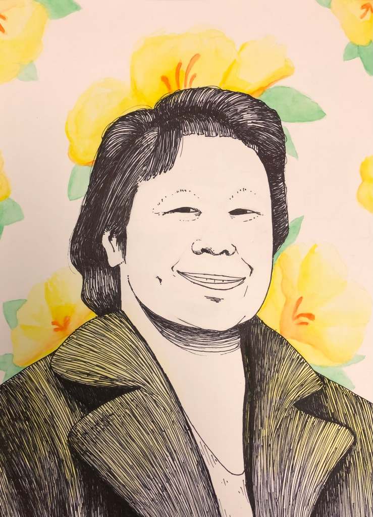 """""""My Grandmother"""" Evanna Thao, Ink and Watercolor, 8 FAMS, NFS"""