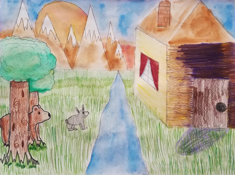 """""""Out in the Wilderness"""", Paige Sorenson, Colored Pencil, 5 Luther, $20"""