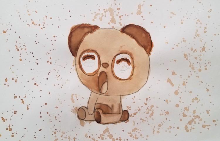 """Panda's Morning"", Shauna Ebbert, Coffee Wash, 4 Luther, NFS"
