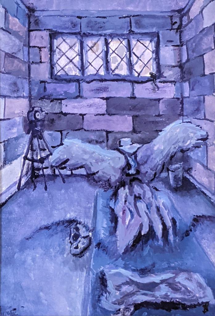"""Angel in a Cage,"" Savannah Pempek, Gouache on Paper, 12 FAHS, NFS"