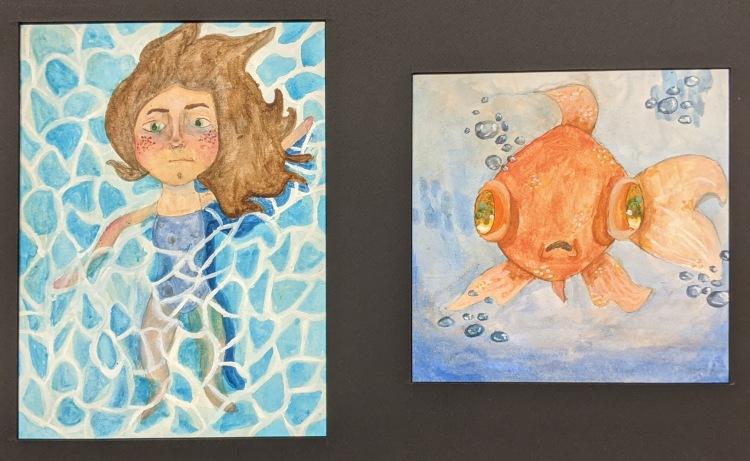"""""""Self-Portrait and Fish,"""" Sierra Schultz, Gouache on Paper, 11 FAHS,A $100"""