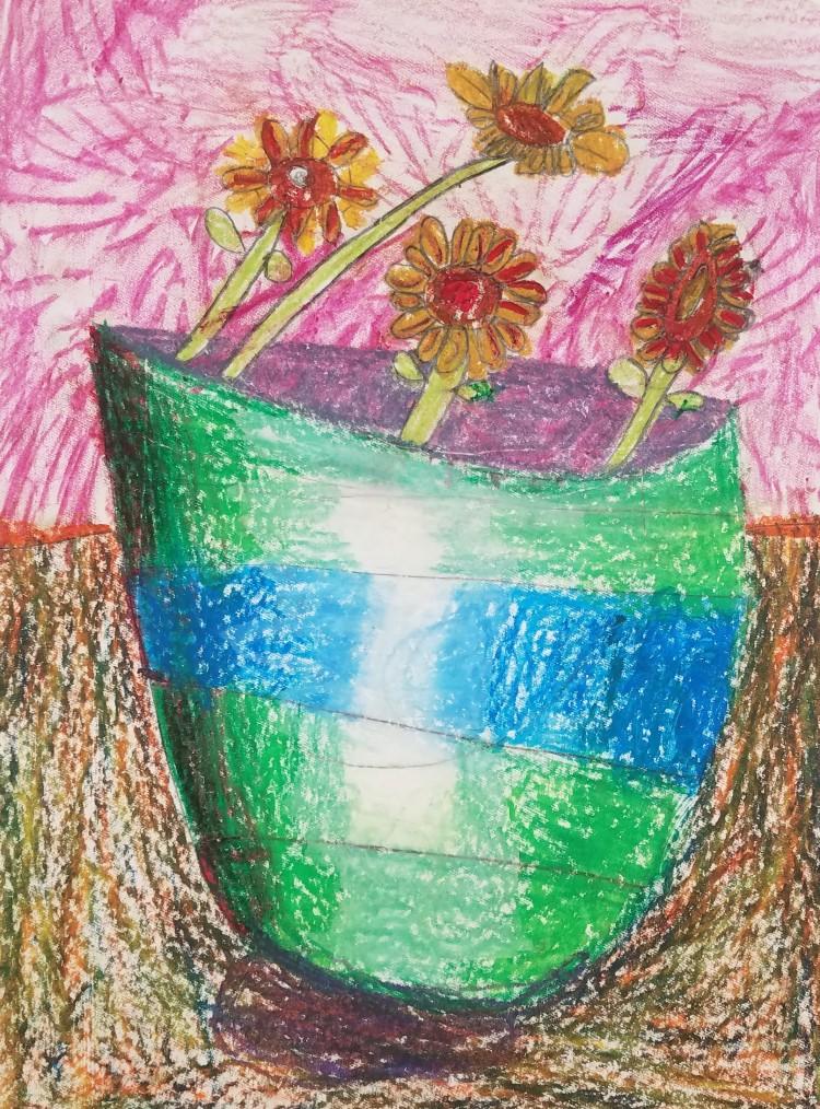 """Vase of Flowers"", Ella Martin, Mixed Media, K Luther, NFS"