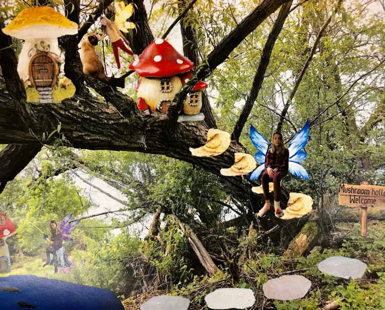 """""""Welcome to Mushroom Hollow"""" Amelia Belzer, Digital Collage, 8 FAMS, $35"""